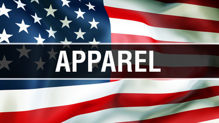 apparel on a USA flag background, 3D rendering. United States of America flag waving in the wind. Proud American Flag Waving, American apparel concept. US symbol with American apparel sign background
