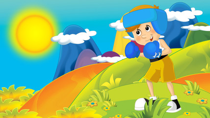 cartoon summer or spring nature background in the mountains - with kid training in nature - illustration for children