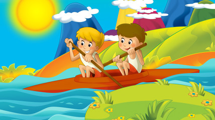 cartoon summer or spring nature background in the mountains - with kids training in nature with space for text - illustration for children