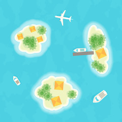 Summer vacation. The islands, ships and plane. Time to travel. Vector illustration - Vector