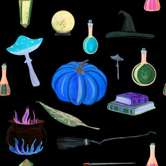gouache magic seamless pattern with magic wand, elixir, books