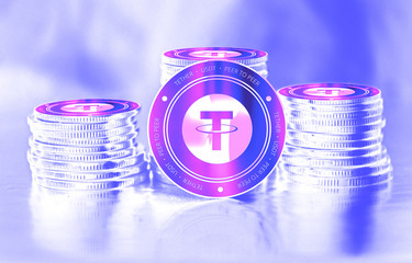 Tether (USDT) digital crypto currency. Stack of coins. Cyber money.