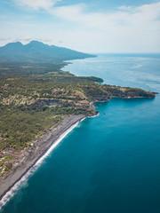 Indonesia, Bali, Karangasem, Aerial view of Bugbug beach