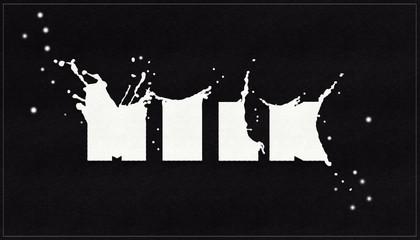 splashes of milk on a black background.