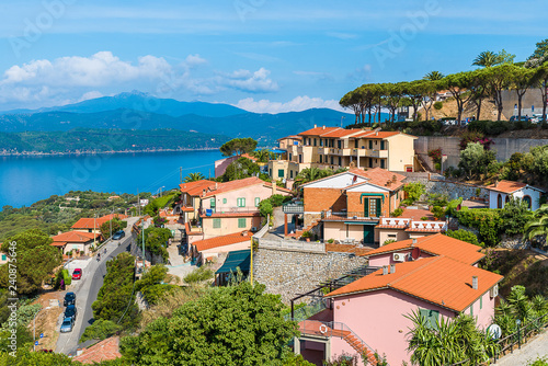 Wall mural Landscape with Capoliveri village, Elba island, Tuscany