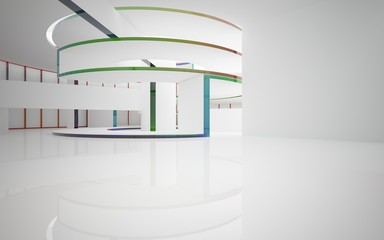 Abstract white and colored gradient glasses interior multilevel public space with window. 3D illustration and rendering.