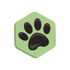 green vector hexagon shape icon with the animals. Cat paw icons isolated. animal footprint hexagonal.