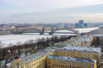 Beautiful view of the city of St. Petersburg, historical and architectural masterpieces of the tourist paradise