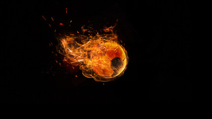 Close-up soccer ball in fire on dark background. The football, sport, goal, game, speed concept