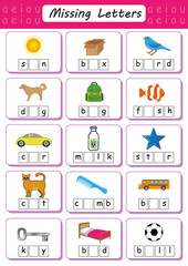 Write missing letter, Write the missing vowel, Worksheet for kids, Fill in the Short Vowel
