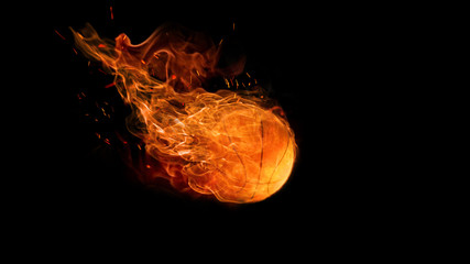bright flamy symbol on the black background. basketball ball in fire. The sport, game, speed concept
