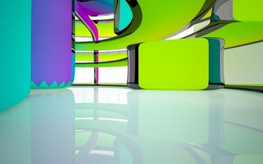 Abstract white and colored gradient smooth interior multilevel public space with window. 3D illustration and rendering.