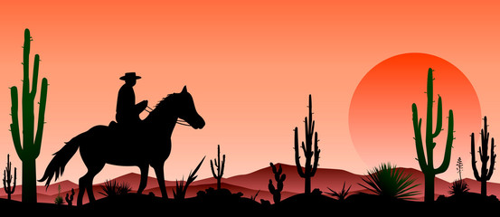 Desert, man riding a horse , cacti, sunset. Rider on a horse in the desert, against the background of cacti and sunsets