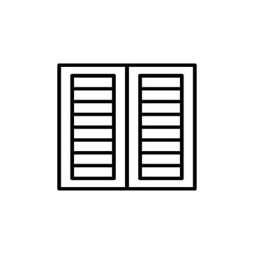 Black & white illustration of old louver window shutter. Vector line icon of wooden vintage outdoor jalousie. Isolated object