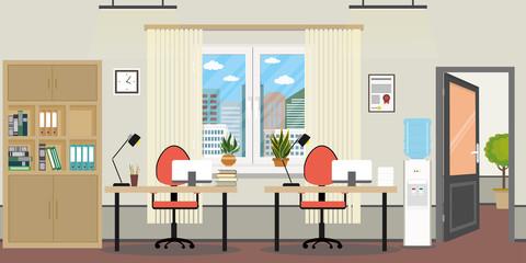 Empty office room,two workplaces,window,open door,flower in pots