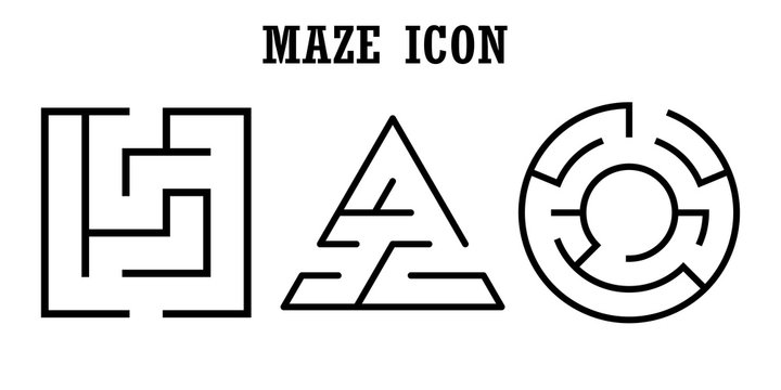 Set of maze icons,labyrinth isolated on white background