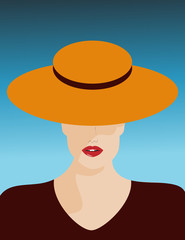 A glamorous woman in a stylish hat is featured in a minimalist fashion and beauty illustration.