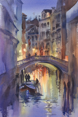Venetian night lights watercolor landscape. A canal with gondolas under the bridge