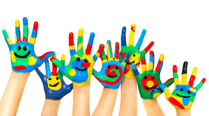 Many coloured children hands