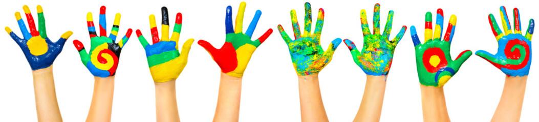 Many coloured children hands