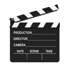 Filmklappe, Regieklappe isoliert weißer Hintergrund 3D Rendering