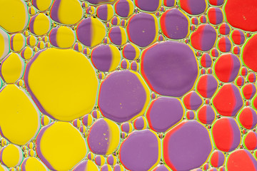 Abstract background of colorful oil drops on water