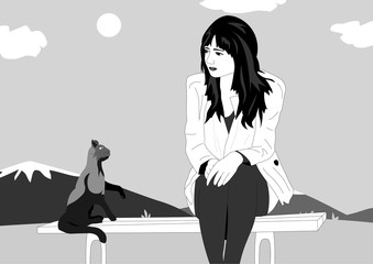 Vector lines. Girl offended sitting on a bench and next to the cat gives her advice. Vector illustration of a girl and a cat