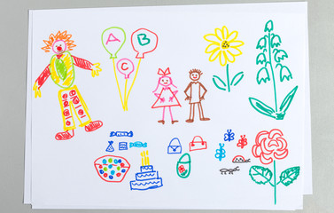 Kid drawings set of birthday party elements isolated on white background.