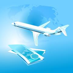 vector illustration of plane, sky, flight, globe, tickets