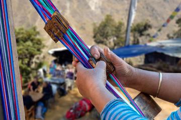 Nepale weaver weaving belt