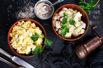 salad with corn and chicken