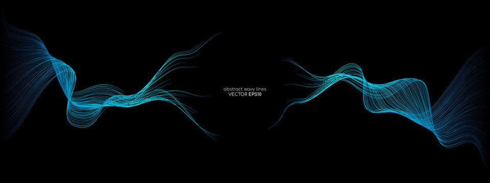 Abstract vector wave lines green and blue colors isolated on black background for design elements in concept technology, modern, science. A.I.