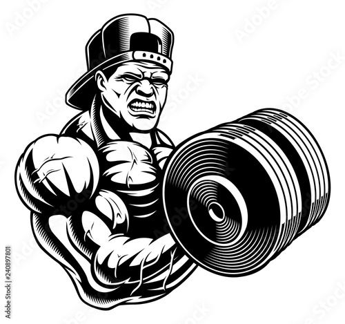 Black And White Illustration Of A Bodybuilder Stock Image And