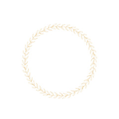 Delicate Hand Drawn Floral Wreath Vector Illustration. Gold Leaves Isolated on a White Background. Lovely Elegant Pastel Color Design. Adorable Branches of Circle Shape. Sweet Romantic Art.