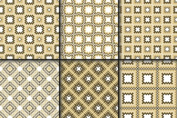 Set of Retro Seamless Pattern. Geometric, Triangle, Zig Zag. For Wallpaper, Fabric, Scrapbooking Design, Textures. Vector Illustration.