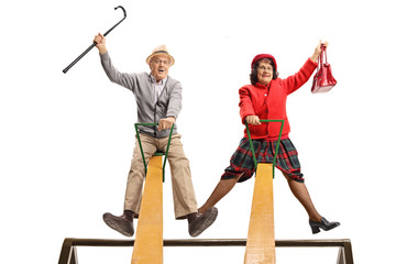 Funny senior couple on a seesaw