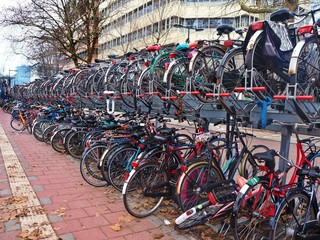 Bicycles in a bicycle park in Utrecht, The Netherlands
