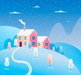 Winter cityscape. Snowy houses, trees. Modern concept vector illustration with winter landscape.