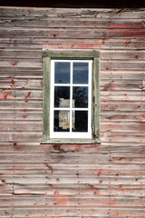 abandoned farm building window