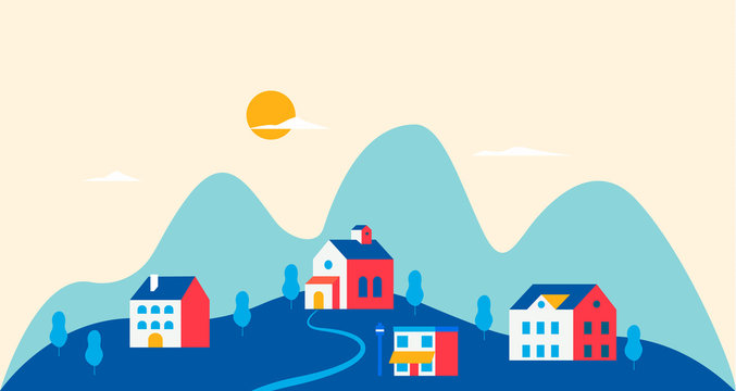 Trendy vintage urban landscape. City with traditional buildings and houses, trees. Modern concept vector illustration