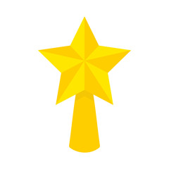 Flat icon golden Christmas star isolated on white background. Vector illustration.