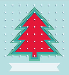 Holiday cover for Happy New Year events. xmas tree and snow on Christmas background. low poly triangles, geometric shapes. Vector illustration for holidays, eps 10