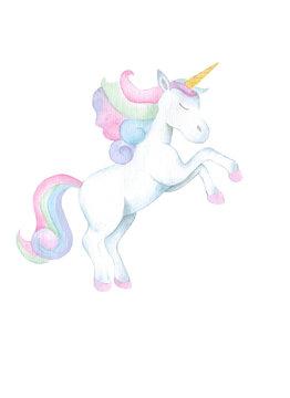 isolated watercolor cute unicorn.