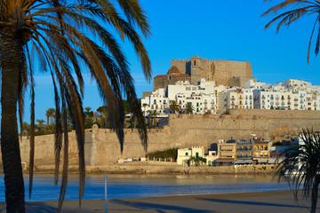 Wall Mural - Peniscola skyline and castle beach in Spain