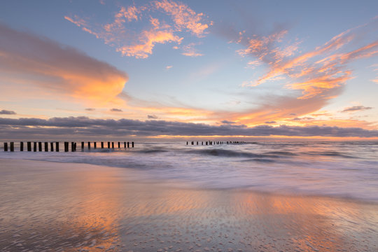 sunset over old Naples pier
