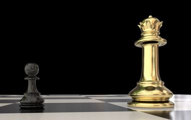 pawn against golden qween in chess - 3d rendering