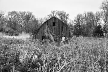 weathered wood farm building