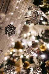 Bright Christmas tree in cozy room