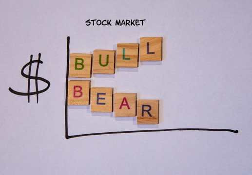 Drawn graph showing bear and bull stock market trends