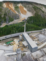 View of cement factory and quarry